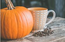 pumpkin coffee beans and mug